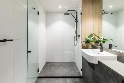 Bathroom interior for a deluxe hotel room at the Oaks Cairns
