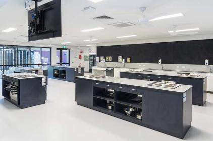Interior of new school learning building showing food science lab
