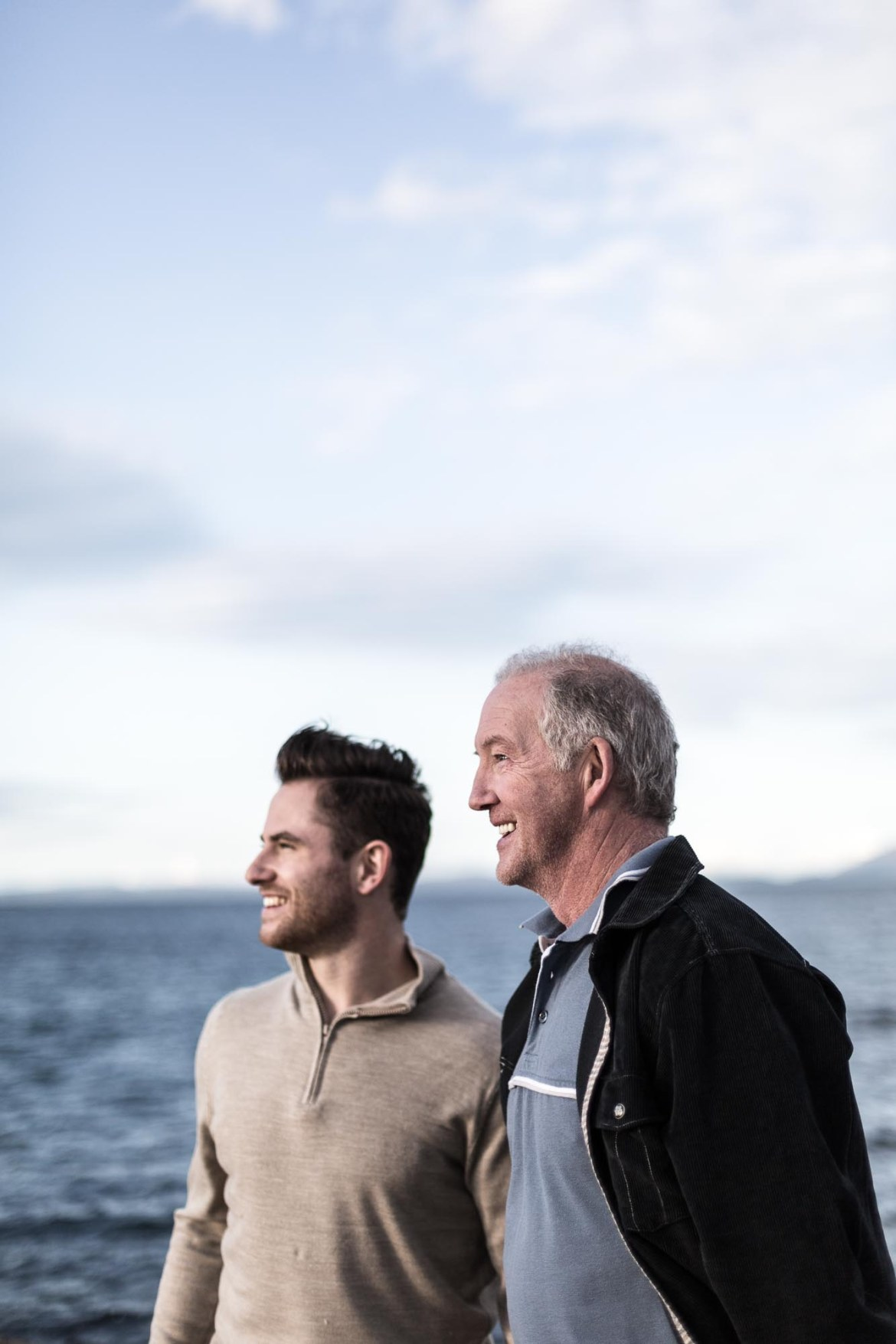 Portrait photography of a father and son on a beach