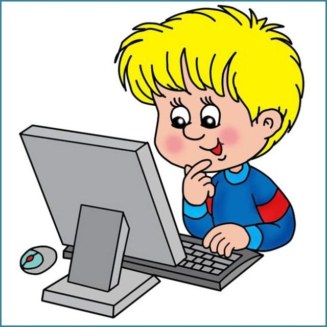 На картинке малыш за компьютером