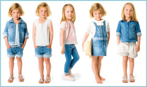 На фотографии девочки в джинсовой одежде