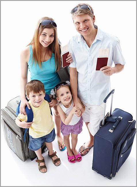 Детишки с родителями собрались в поездку