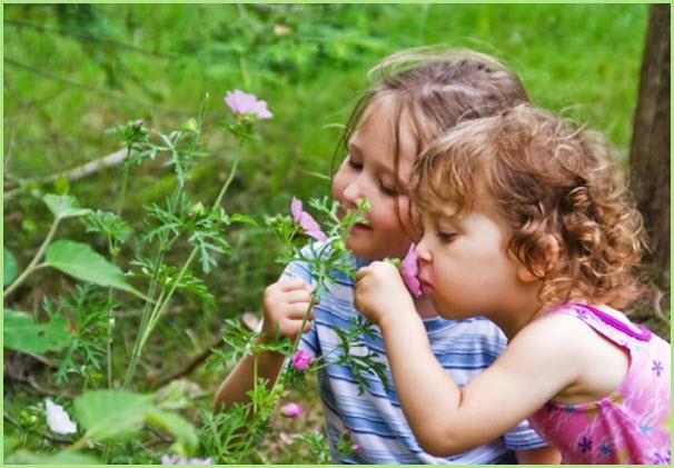 Две подружки нюхают цветы