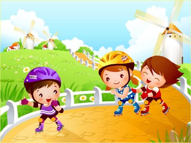Картинка с детьми на роликах
