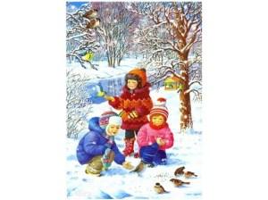 Картинка с детьми и птицами