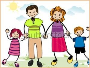 На смешной картинке родители и дети
