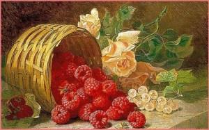 Малина, виноград, цветы