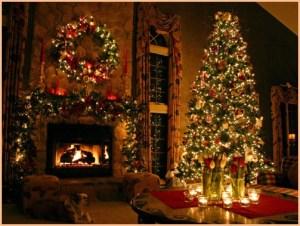 Рождественская ёлка с огнями