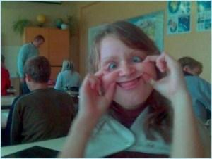 Смешная мордочка девушки