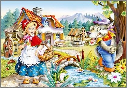 картинка красная шапочка и серый волк