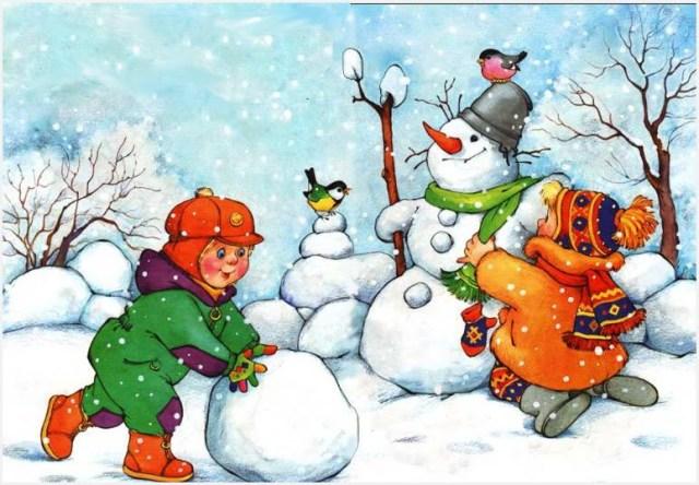 Дети снеговик