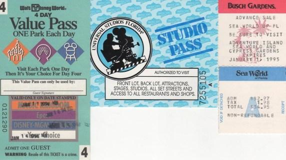 Orlando Park Tickets in 1994