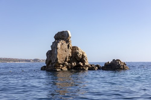 Rock formation in the sea