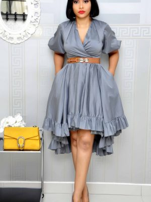 Grey Military Dress with Belt