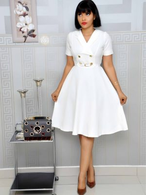 White Skater Military Dress with Belt