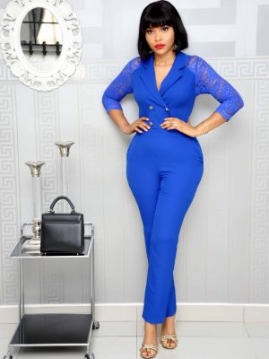 Royal Blue Military Jumpsuit with lace