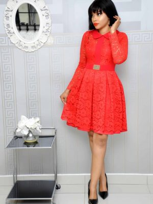 Red Lace Pleated Skater Dress