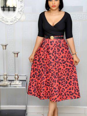 Red and Black Animal Print Skirts