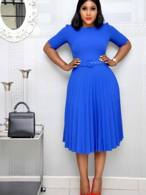 Royal Blue Pleated Dress with Belt