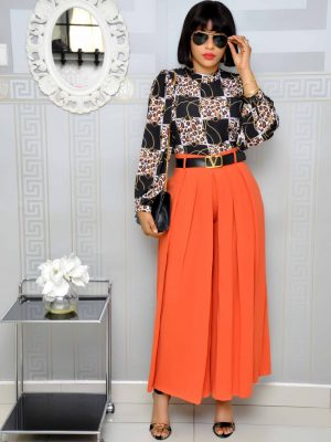 Orange Belted Culotte Trousers