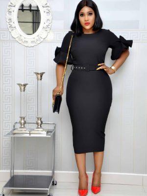 Black Midi Dress with Petal Sleeves