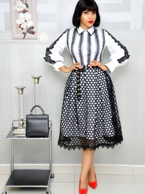 Black and White Lace Shirt and Skirt Set