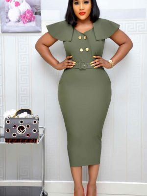 Army Green Short-Cape Dress with Gold Button