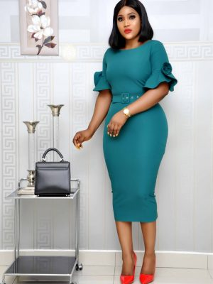 Green Midi Dress with petal sleeves