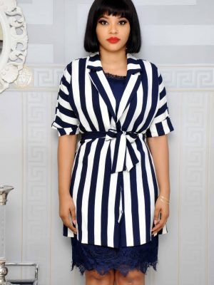 Blue and White Stripe Jacket with Inner Sleeveless Lacy