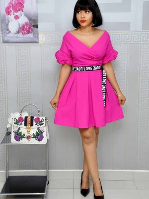 Pink Skater Dress with Puffy Sleeves