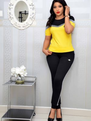 Yellow and Black Trouser Set with Shimmer