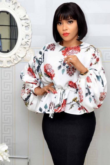 White Floral Puffy Sleeve Top