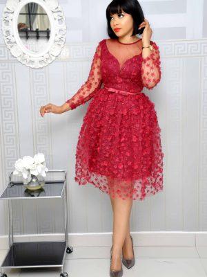 Burgundy Petal Mesh Dress