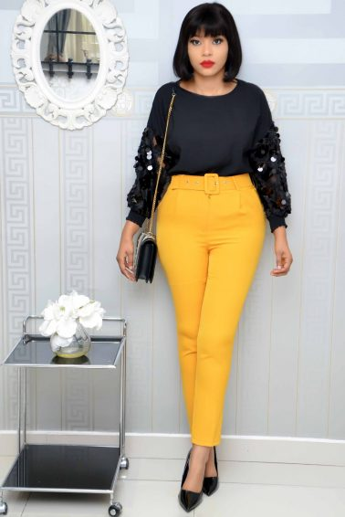 MUSTARD CIGARETTE PANT WITH BELT