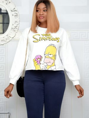 WHITE SIMPSON SWEAT SHIRT