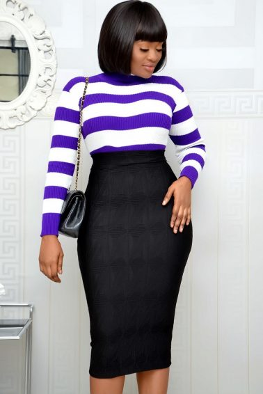 PURPLE & WHITE STRIPED TURTLE NECK TOP