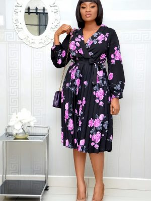 BLACK AND PURPLE FLORAL PLEATED WRAP DRESS