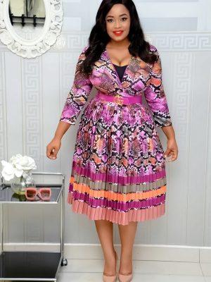 PURPLE MULTICOLOURED PRINT PLEATED DRESS