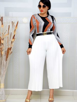 WHITE PLEATED BELTED CULLOTES