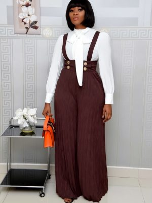 BROWN PLEATED PALAZO DUNGAREES TROUSER