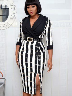 BLACK & WHITE STRIPE LETTER DRESS WITH SLIT