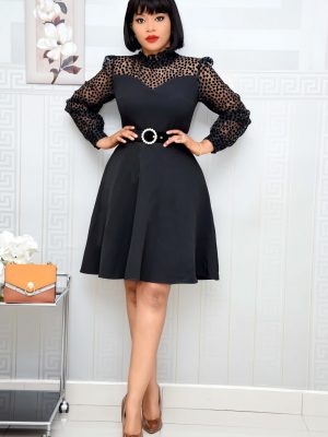 BLACK BELTED SKATER WITH MESH SLEEVE