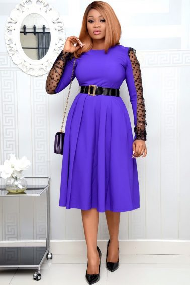 PURPLE BELTED SKATER WITH MESH SLEEVE