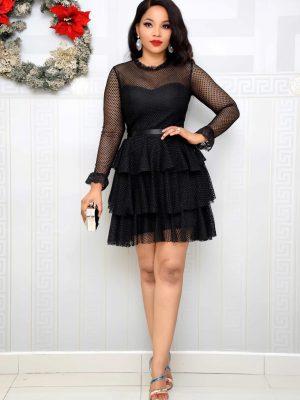 BLACK LACE LAYER DRESS