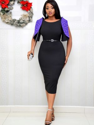 BLACK & PURPLE STUDDED SLEEVE DRESS