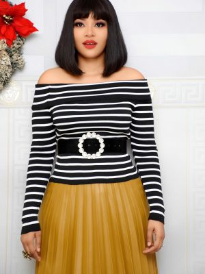 BLACK & WHITE STRIPE OFF SHOULDER TOP