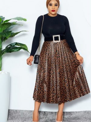 BLACK & BROWN ANIMAL PRINT PLEATED SKIRT