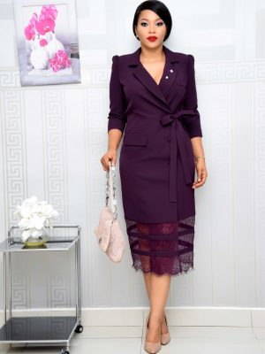 AUBERGINE WRAP DRESS WITH LACE