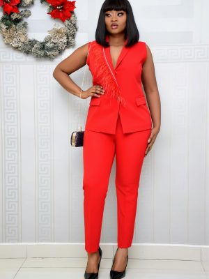 RED SLEEVELESS TROUSER SET
