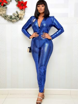 BLUE SEQUIN BELTED JUMPSUIT